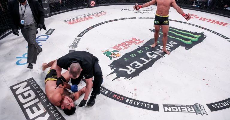 Bellator 255 results: Patricio Pitbull chokes out Emmanuel Sanchez to defend featherweight title, advances to grand prix finals against A.J. McKee